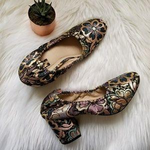 Asos Metallic shimmer block heels Floral stretch